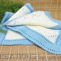 Handmade Baby Boy Crochet Afghan / Lap Blanket Throw / Baby Blue Off White Stripes Pattern / Shower Gift Idea / Vintage FREE SHIPPING (190)
