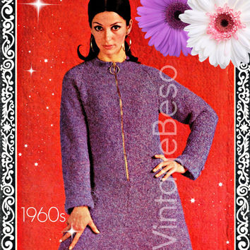 Ladies Dress KNITTING Pattern Vintage 1960s KNITTING Pattern with Zipper is Mod o licious Mod Dress Pdf Pattern Vintage Beso Dress Pattern