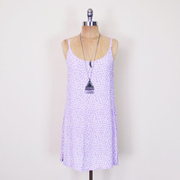 Vintage 90s Lavender Purple Floral Dress Ditsy Floral Print Dress Daisy Print Floral Mini Dress Sundress 90s Dress 90s Grunge Dress M Medium