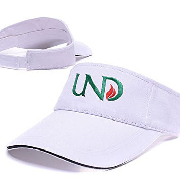 ZHHUA University of North Dakota Logo Adjustable Embroidery Tennis Golf Baseball Hat Sun Visor Cap White