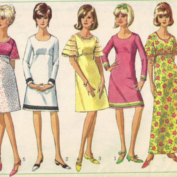 Retro 60s Simplicity Sewing Pattern Baby Doll Dress Mini A-line Go Go Dress Flared Sleeves Empire Waist Bust 30