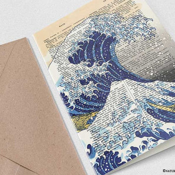The great wave of Kanagawa Card-greeting card-handmade card-japan card-4x6 card-book art card-dictinary card-ocean card-NATURA PICTA-NPGC106