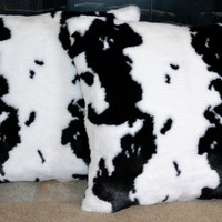 Faux Fur Pillows, Cow Hide Faux Fur Pillow, Fake Fur Pillow, 20x20, Decorative Pillow, Throw Pillow Ready to Ship