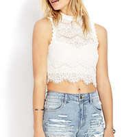 FOREVER 21 Dainty Crochet Lace Crop Top Ivory