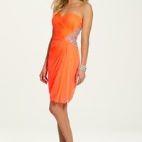 Short Strapless Mesh Shirred Dress with Beading