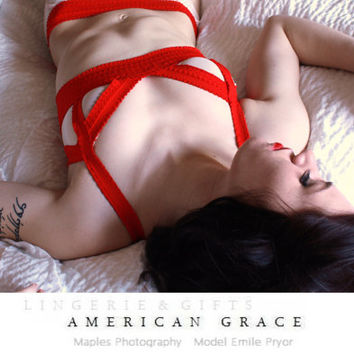 Red and White Lingerie Set - Red and White Bralette and Matching Panties