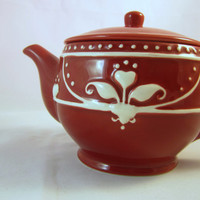SPRING SALE Jackson Perkins Teapot Red and White