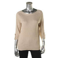 Karen Scott Womens Cable Knit Cuff Sleeves Pullover Top