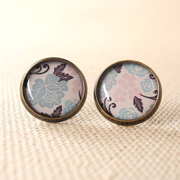 Pastel Floral Earring Studs - Pink Blue Floral Earring Posts - Pastel Jewelry - Rose Jewelry