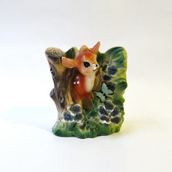 Vintage mid century collectible bambi deer and butterfly porcelain vase