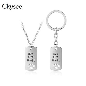 Ckysee Hollow Pet Paw Footprint Dog Tag Pendant Necklace For Women Silver Live Love Adopt Memorial Square Pet Necklace Jewelry