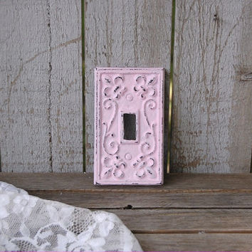 Pink Switch Cover, Shabby Chic, Single, Wall Plate, Pink, Ornate, Fleur de Lis