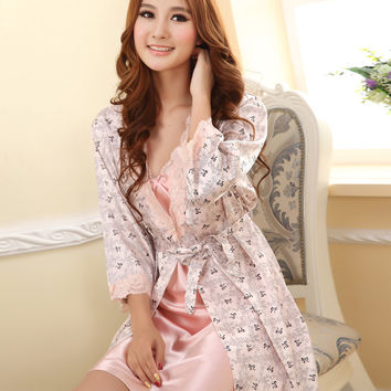 Women Robes Sexy Sleepwear Suit Nightgown Dress Rayon Silk Babydoll