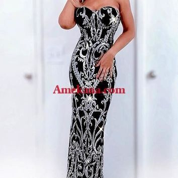 Emotions Sequin Strapless Maxi Dress
