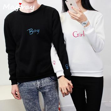 Magiray Harajuku Letters Embroidery Sweatshirt Top Plus Size Warm Hoodies Women Autumn Winter 2017 Loose Couple Clothes C476