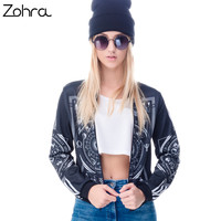 Women Bomber Jacket 3D Printed Occultism Chaquetas Outwear Long Sleeve Coats r Jackets