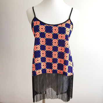 Festival Fringe Top - Peach/Blue