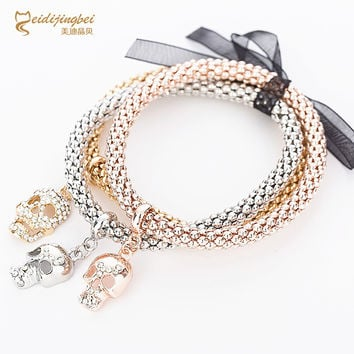 2016 TOP Trendy Skull Skeleton Bracelet & Bangle Chain Charm Bracelet Gold Silver Bracelet For Women Fashion Fine Jewelry