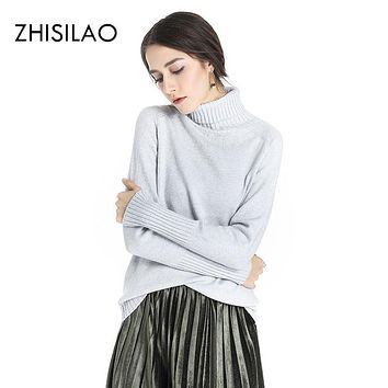 ZHISILAO 2017 Winter Woman Sweaters And Pullovers Women Thick Warm Turtleneck Knitted Sweater Christmas Sweater Pull Femme Hiver