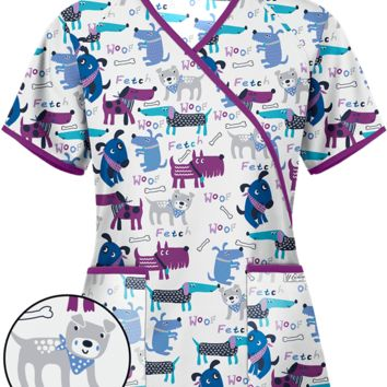 UA Playful Pups White Mock Wrap Print Scrub Top, Animal Scrubs