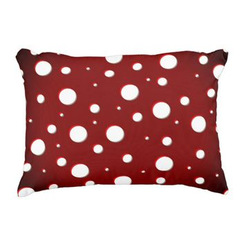 Deep red mushroom spots pattern, white dots 2 accent pillow