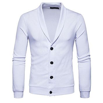 White Sweater Men  Autumn Winter Casual Men Sweaters V-neck Knitted Cardigan Slim Fit Button Men Sweater Sueter Hombre