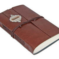 Personalized Large Faux Leather Journal with Bookmark - Choice of 6 colors -