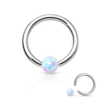 White Fire Opal Captive Bead Ring