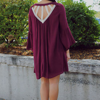 Wine Red Cut-Out Trumpet Sleeve Loose Dress