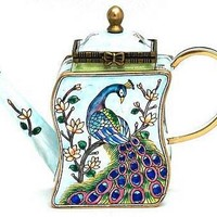 Peacock on a Branch Miniature Teapot by Kelvin Chen