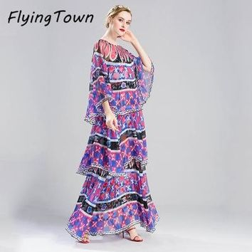 FlyingTown Designer dress runway 2017 high quality women chiffon long purple dress bohemian holiday style maxi cake ruffle dress