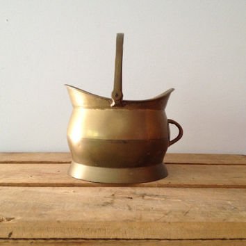 Vintage Small Brass Coal Scuttle - Brass Bucket