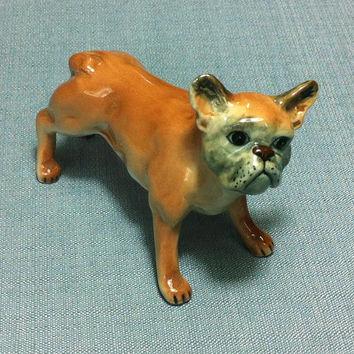 Miniature Ceramic Dog French Bulldog Animal Funny Cute Little Tiny Small Brown Figurine Statue Decoration Collectible Hand Painted Figure