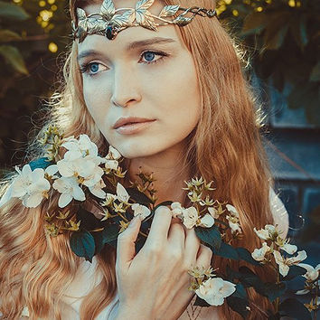 Elven diadem Elf Leaf Crown wedding Tiara bridal headband Telgelin