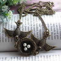 Pretty retro copper two birds dangling a nest with three eggs necklace pendant jewelry vintage style