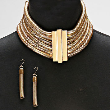 Gold Collar Bar Mesh Choker Necklace