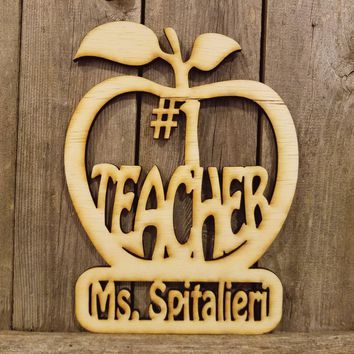 Number #1 Teacher Personalized Name Plaque- laser cut wood sign