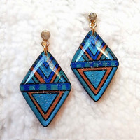 BLUE GEOMETRIC EARRING AZTEC TRIBAL DIAMOND SHAPE