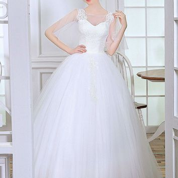 New Style  sleeve wedding dress ball gown  blanche bridal dress