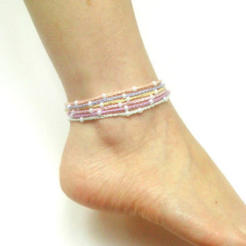 Crochet Ankle or Wrist Bracelet Pastel Rainbow with Beads Hippie Boho Gypsy Summer