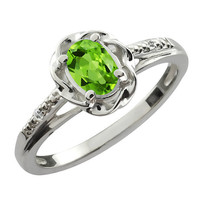 Peridot Oval Diamond Ring .925 Sterling Silver Rhodium Plated White Gold Quality