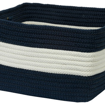 "18"" Rope Walk Basket, Navy, Storage Baskets"