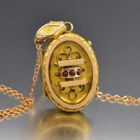 Fine Etruscan Gold Fill Garnet Locket Necklace C 1880s