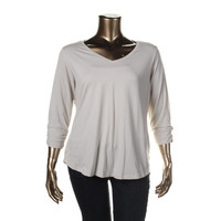 Style & Co. Womens Plus The Essential Tee Knit Ruched Pullover Top