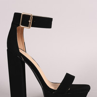 Liliana Nubuck Buckled Ankle Strap Chunky Platform Heel 4 Colors