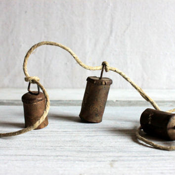 Primitive Rusty Hand-Forged Hanging Metal Bells Chimes on a Rope  : vintage