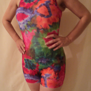 mjcreation biketard unitard leotard  all size made to order Multicolored tie dye prints on poly spandex