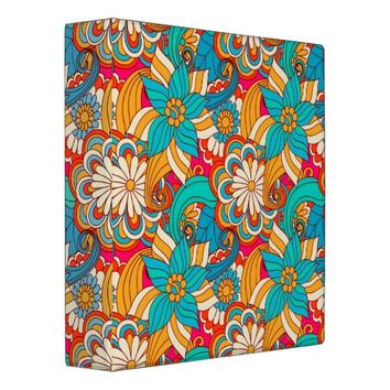 Cute Modern Spring Flowers Pattern Girly Floral Binder