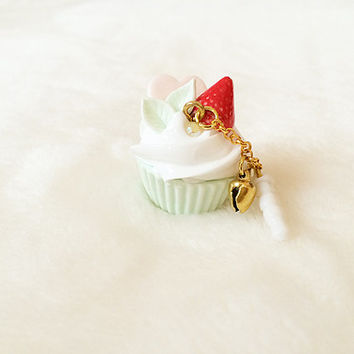 Kawaii Cupcake Dust Plug -  Cupcake Cell Phone Charm Strap- Pastel Fairy Kei Deco Sweets - Cute Zipper Pull - Gold Plated