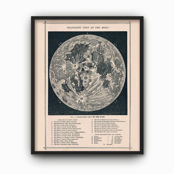 Full Moon Map Reproduction - Vintage Lunar Astronomy Wall Art Print - Geography Moon Chart - Telescopic View of the Moon - Moon Topography